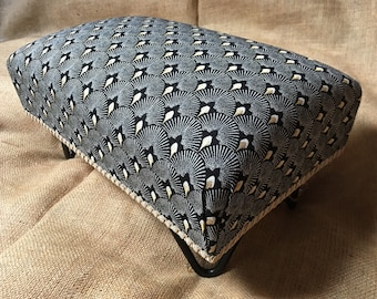 """Traditionally Handmade Footstool 8"""" Tall - Art Deco - Foot Rest Gatsby Style - Hairpin Metal Legs - Individually Made - Ready to Ship"""