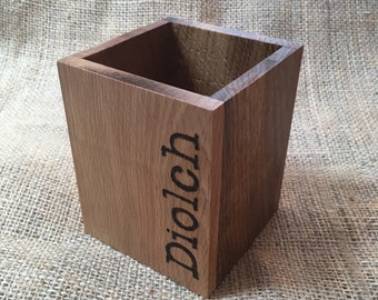 Diolch - Welsh Wood Pencil Box - Handmade - Local Woods - Teacher Gift - Thank You - Small Size
