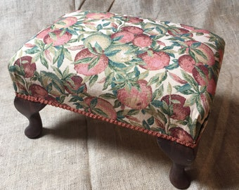 """Florence Citrus Fruit Upholstery - Traditionally Handmade Footstool 12"""" Tall - Queen Anne Legs - Individually Made in Wales - Ready to Ship"""