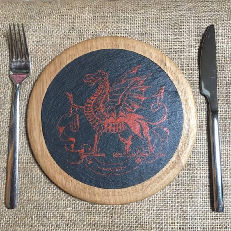 Welsh Slate Dragon Coaster in Wood Surround  Large image 0