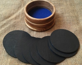 Welsh Slate Plain Coasters in Holder - Hardwood Surround - Handmade - Set of 8 Coasters - Gift - Table Centrepiece - Fathers Day