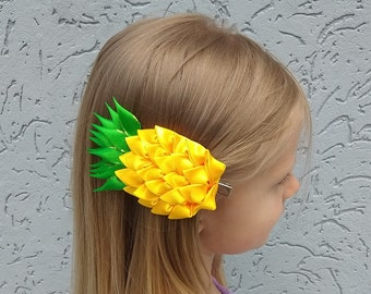 Pineapple kanzashi hair clip for girl Pineapple gifts for her Fruit  headpiece fascinator Tropical party hairpiece adult Summer hair piece b949f4f304a