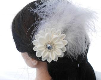 Wedding hair piece flower White feather fascinator hair clip Gatsby hair accessories 1920s headpiece Flapper hair piece Kanzashi hair clip