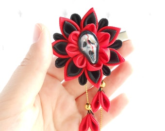 Halloween hair accessorie Halloween outfit toddler girl Black red gothic hair piece Kanzashi flower hair clip Horror hair bow Scream mask