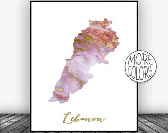 Lebanon Print Lebanon Art Print  Lebanon Map Art Wall Art Decor Home Wall Decor Living Room Decor Wall Prints ArtPrintsZoe