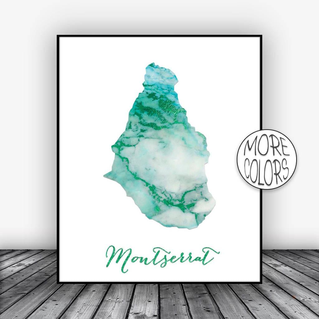 Montserrat Print Office Art Print Watercolor Print Montserrat Map Print Map  Art Map Artwork Office Decor ArtPrintsZoe
