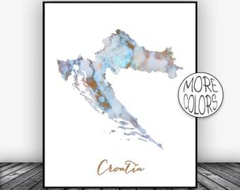 Croatia Print Watercolor Print Croatia Map Art Map Painting Map Artwork Country Art Office Decor  ArtPrintsZoe