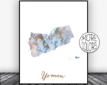 Yemen Print Yemen Art Print  Yemen Map Art Wall Art Decor Home Wall Decor Living Room Decor Wall Prints ArtPrintsZoe