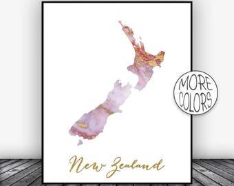 New Zealand Art Print  New Zealand Map Art Wall Prints Wall Art Home Wall Decor Living Room Decor ArtPrintsZoe
