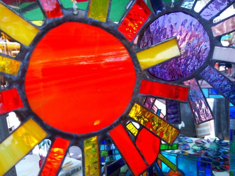 Glass suncatcher Home decor Feng Shui decor, Yard design Stained glass sun