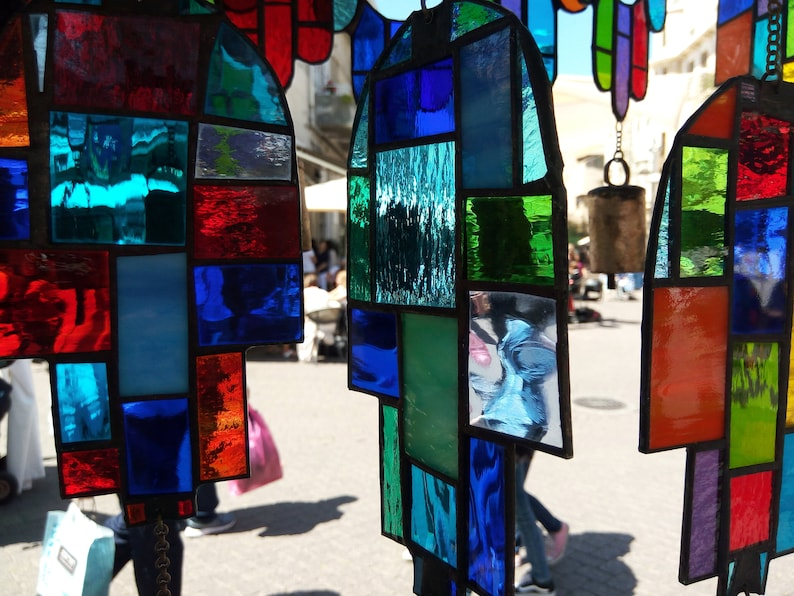 LOVE Colorful Stained Glass Effect Mobile Suncatcher Hand Made Home Decor