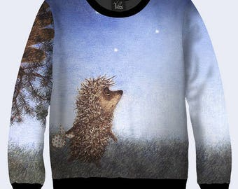 06029975530b 2017 Hedgehog in the Fog Sweatshirt Cozy Sweater Cute Sweatshirt Blue Sweatshirt  Pullover Sweatshirts 3D simbol Svitshot new