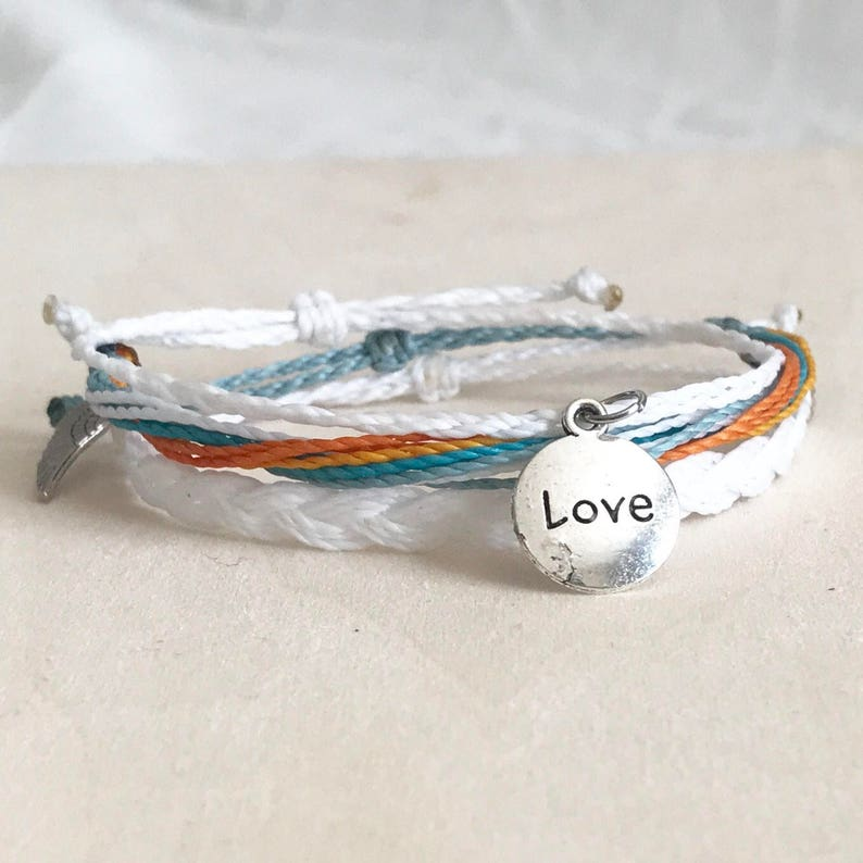 4f7e9803768c7 Double Sided Word Pendant Trio (3) - Linhasita Waxed Polyester Cord,  Braided, Corded Friendship Bracelets - Multiple Options!