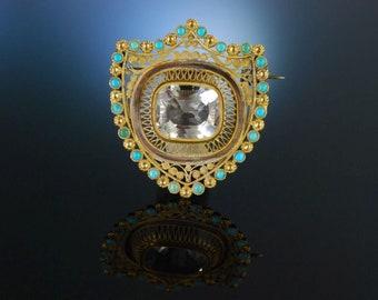 Diamonds & Gemstones Bergkristallbrosche Brosche Antik Jugendstil Antik Anstecknadel Bergkristall .