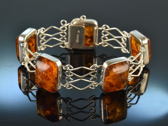 Amber bead silver brooch from Germany Fischland vintage silver brooch Fischlandschmuck