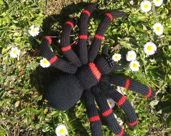 Big Black Spider - Knitted, Stuffed Toy