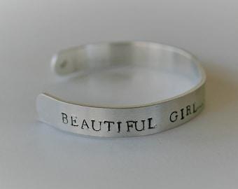 Beautiful Girl, you can do hard things cuff bracelet