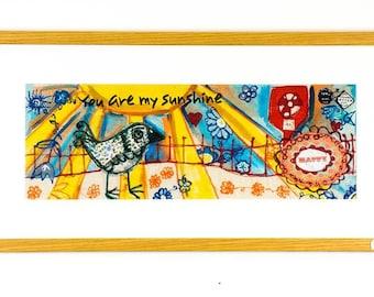 You are my sunshine Original free motion machine embroidery