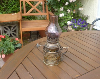 Gorgeous Antique Mid Victorian Brass Railway Oil Lamp-with Purple Chimney