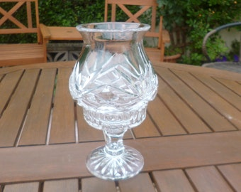 Gorgeous Large Vintage Decorated Glass Candlestick/Tea Light Holder