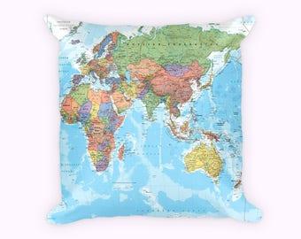 Map pillows etsy world map pillow gumiabroncs Choice Image