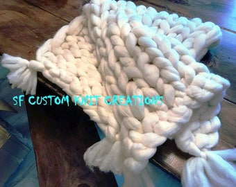 Chunky Knitted Snowy White Baby Blanket with tassles