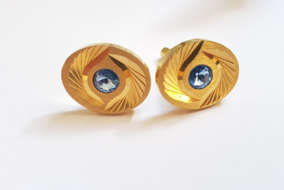 ANSON Vintage Gold Royal Blue Purple Glass Cabochon Cuff Links Groom Gift Idea for Him Dad Fathers Day Brother Father of Bride Wedding