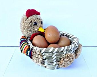 wicker decorative basket, basket of eggs, decorated easter, decoration table, chicken, basket chicken