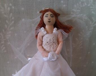 bride doll, bride peg doll, dressed peg doll, individual peg doll, handmade peg doll
