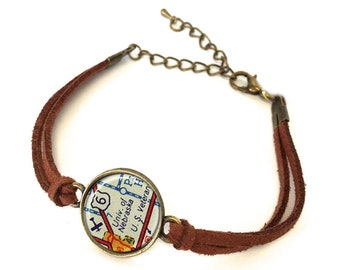 University of Nebraska Map Bracelet - Created from a vintage map. Map Jewelry, Map Bracelet, Custom Bracelet, Custom Jewelry, Personalized