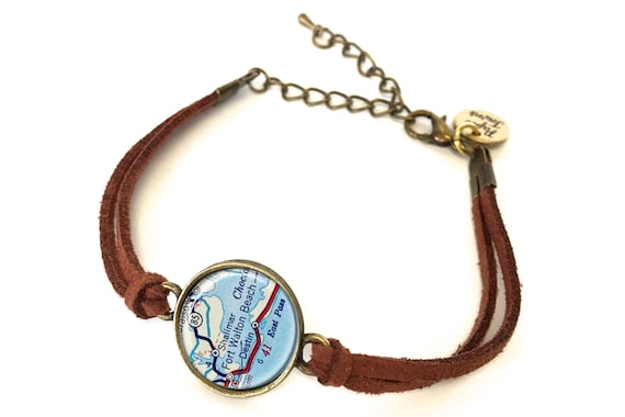 Fort Walton Beach Florida Map Bracelet Created From A 1956 Etsy