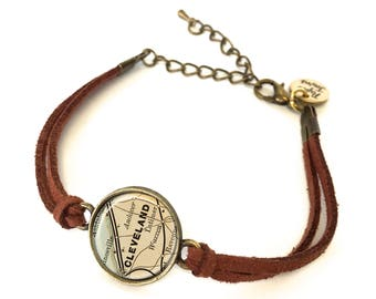 Cleveland Map Bracelet - Created from an 1890 map. Map Jewelry, Map Bracelet, Custom Bracelet, Custom Jewelry, Wrap Bracelet, Personalized