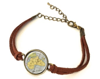 Africa Map Bracelet - Created from an 1800s map. Map Jewelry, Map Bracelet, Custom Bracelet, Custom Jewelry, Personalized Map Jewelry