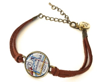 Sedona Map Bracelet - Created from a 1950s map. Map Jewelry, Map Bracelet, Custom Bracelet, Custom Jewelry, Personalized Jewelry