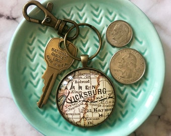 Custom Map Key Ring (Large) Custom Father's Day Gift, Unique Gift for Him, Gift for Brother, Anniversary Gift for Husband, Birthday Gift