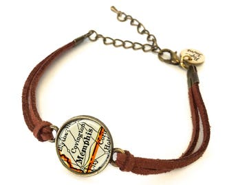 Memphis, Tennessee Map Bracelet - Created from a vintage map. Map Jewelry, Map Bracelet, Custom Bracelet, Custom Jewelry, Personalized