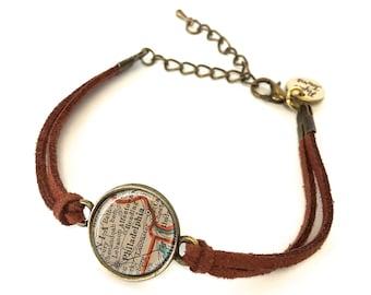 Philadelphia Map Bracelet - Created from a 1937 map. Map Jewelry, Map Bracelet, Custom Bracelet, Custom Jewelry, Wrap Bracelet, Personalized