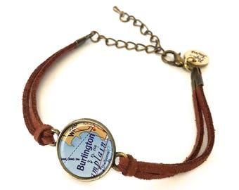 Burlington Map Bracelet - Created from a 1956 map. Map Jewelry, Map Bracelet, Custom Bracelet, Custom Jewelry, Wrap Bracelet, Personalized