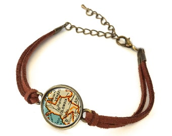 Colombia Map Bracelet - Created from a vintage map. Map Jewelry, Map Bracelet, Custom Bracelet, Custom Jewelry, Personalized
