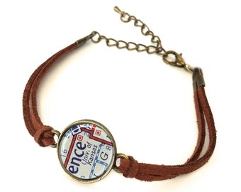 University of Kansas Map Bracelet - Created from a vintage map. Map Jewelry, Map Bracelet, Custom Bracelet, Custom Jewelry, Personalized