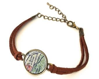 Carnegie Mellon University Map Bracelet - Created from a vintage map. Map Jewelry, Map Bracelet, Graduation Gift, Unique Gift for Graduate