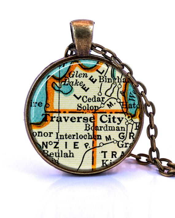 Traverse City Michigan Map Pendant Necklace Created From A Etsy