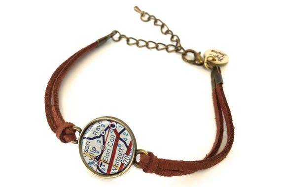Elon University Map Bracelet - Created from a 1956 map. Map Jewelry, Map  Bracelet, Custom Bracelet, Custom Jewelry, Personalized