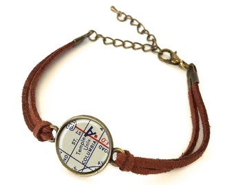 Temple University Map Bracelet - Created from a vintage map. Map Jewelry, Map Bracelet, Custom Bracelet, Custom Jewelry