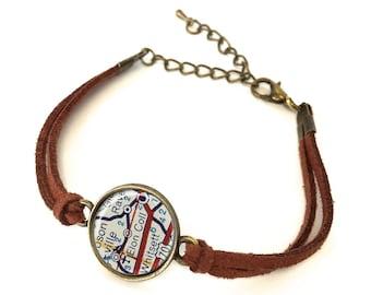Elon University Map Bracelet - Created from a vintage map. Map Jewelry, Map Bracelet, Custom Bracelet, Custom Jewelry, Personalized