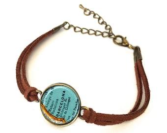Barcelona, Spain Map Bracelet - Created from a 1937 map. Map Jewelry, Map Bracelet, Custom Bracelet, Custom Jewelry, Personalized Bracelet