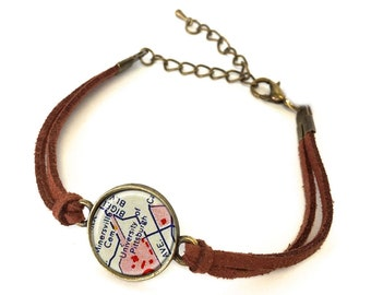 University of Pittsburgh Map Bracelet - Created from a vintage map. Map Jewelry, Map Bracelet, Custom Bracelet, Custom Jewelry, Personalize