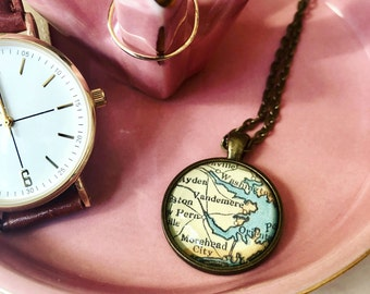 CUSTOM MAP NECKLACE (Small) Choose Your Location, Custom Map Pendant, Custom Gift, Custom Necklace, Custom Gift for Her, Birthday Gift