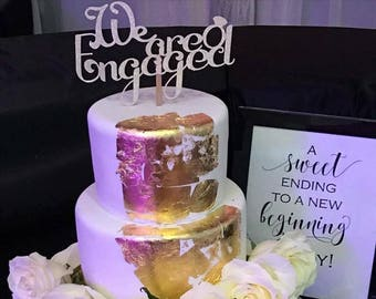 We are engaged, cake topper, engagement, engaged cake topper, ring, wedding