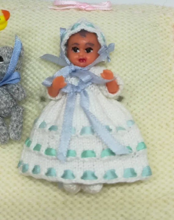 Dolls House Victorian Baby Boy in Blue Christening Gown Miniature